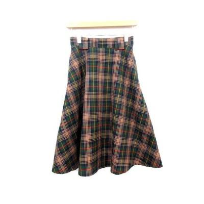 【中古】シンゾーン Shinzone スカート チェック フレア ロング 34 茶 ネイビー 緑 /☆G レディース 【ベクトル 古着】