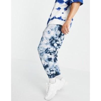 エイソス メンズ カジュアルパンツ ボトムス ASOS DESIGN oversized sweatpants in blue tonal tie dye Blues