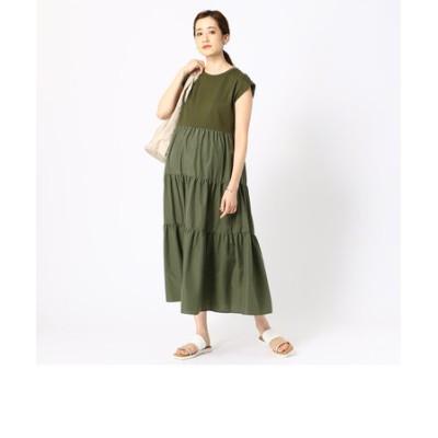 〔マタニティ〕異素材 ティアードドレス