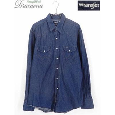 古着 シャツ 80s USA製 Wrangler ラングラー 70127MW 濃紺 デニム ウエスタン シャツ 17 古着