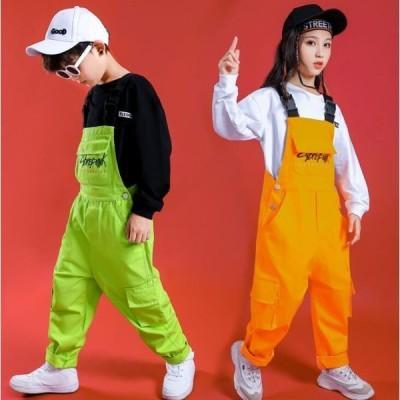 サロペット キッズ ジャズダンス ヒップホップダンス 衣装 子供 ダンス衣装 男の子 女の子 tシャツ オーバーオール カーゴパンツ 袴パンツ 2枚