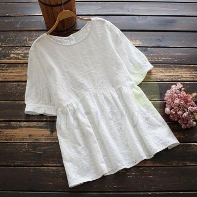 シャツ ブラウス レディース 春夏 綿 白色 無地 花柄 刺繍 レース 丸首 半袖 ぺプラム トップス j02296
