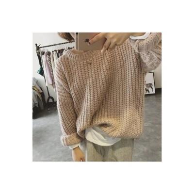 ゆったりレディースニットおしゃれシンプルデザインレディースファッションかわいい可愛いwear.com