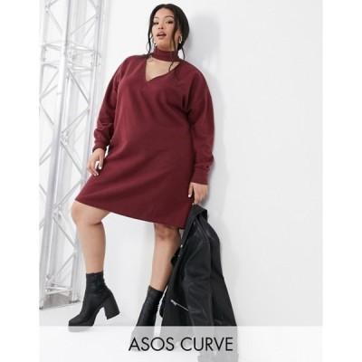 エイソス レディース ワンピース トップス ASOS DESIGN Curve super soft mini dress with cut out front with long sleeve in oxblood
