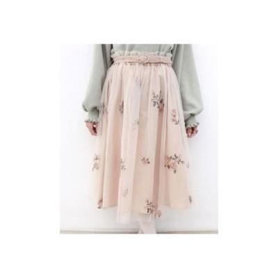 フィント F i.n.t ベルト付きローズ総刺繍チュールスカート (L/ORANGE)