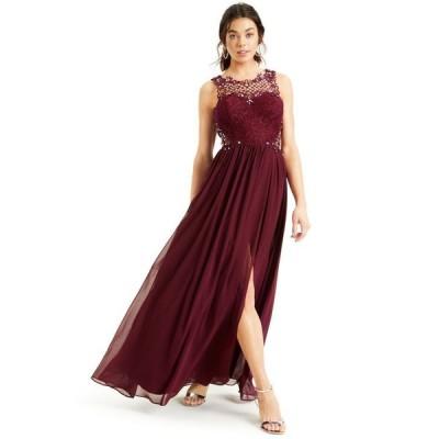 シティー スタジオ レディース ワンピース トップス Juniors' Embellished Lace-Top Gown