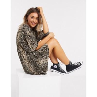 エイソス レディース ワンピース トップス ASOS DESIGN plisse smock mini dress in leopard print Leopard print