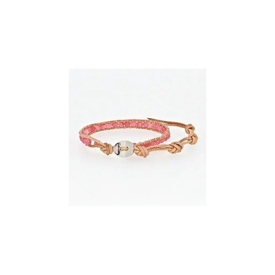 ラップブレス 1連レザー 人工石ピンク メンズ&レディース