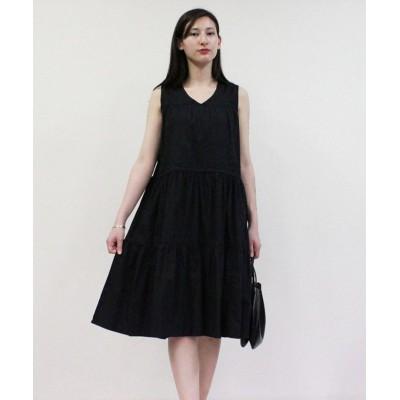 (atONE/アットワン)コットンティアードワンピース レディースファッション通販 M-L LL-3L 4L-5L 綿100% 夏 上品 大きいサイズ 大きめ ティアードワンピース トッ/レディース ブラック