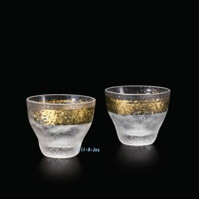 盃 日本酒グラスペアセット 90ml 金一文字酒グラス 2個 S-6279 プレミアムニッポンテイスト アデリア ギフト贈答品プレゼントに適