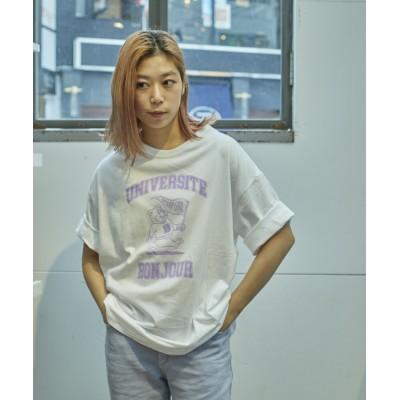 ボンジュールレコード/カレッジベア Tシャツ/ホワイト/F