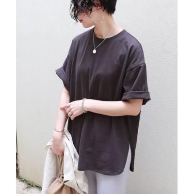 (and Me.../アンドミー)コットン半袖オーバーサイズ裾ラウンドヘムTシャツ/レディース チャコールグレー