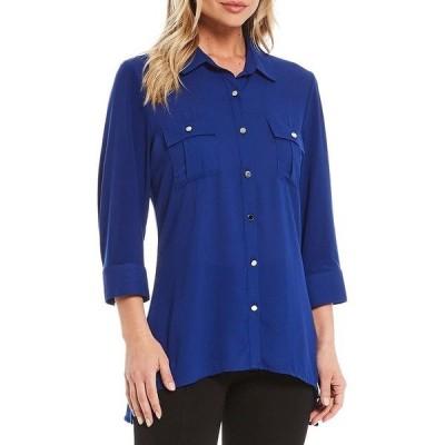 インベストメンツ レディース シャツ トップス Slim Factor by Investments Bridget 3/4 Sleeve Button Front Hi-Low Top Royal Blue
