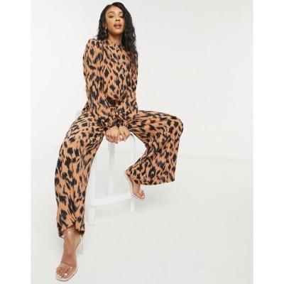 ネバーフリードレスド レディース ワンピース トップス Never Fully Dressed high neck puff sleeve jumpsuit in brown animal print
