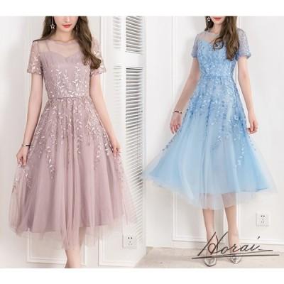 ドレス 半袖 ミディ丈 レース 透け感 きれい ワンピース ワンピドレス お呼ばれ 結婚式 二次会 パーティー お取り寄せ