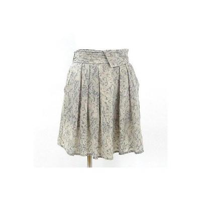 パイラス(pyrus)グレー柄ギャザープリーツシルクスカート