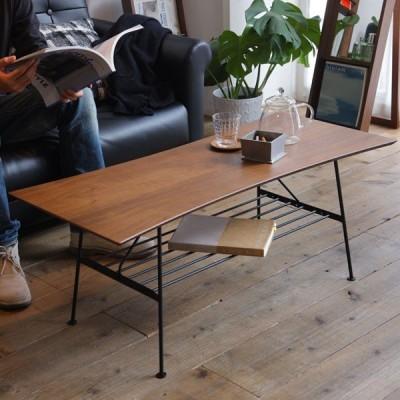 カフェテーブル センターテーブル 机 ローテーブル リビングテーブル アイアン ウォールナット 天然木 木製 IT-0001