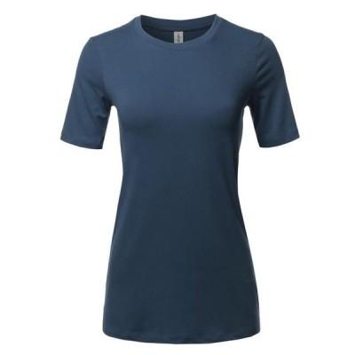 レディース 衣類 トップス A2Y Women's Basic Solid Premium Cotton Short Sleeve Crew Neck T Shirt Tee Tops Midnight S