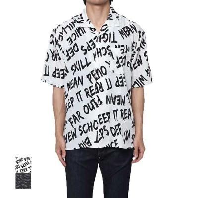 シャツ開襟シャツ半袖オープンカラーシャツカジュアルシャツ総柄ロゴ英字トップスメンズ