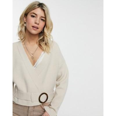 ムーンリバー レディース ニット・セーター アウター Moon River wrap front sweater in cream