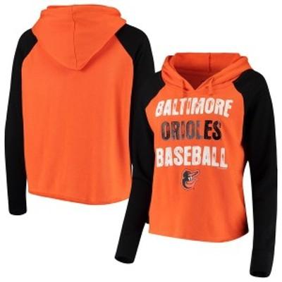 ニューエラ レディース パーカー・スウェット アウター Baltimore Orioles New Era Women's Loose French Terry Pullover Hoodie Orange/