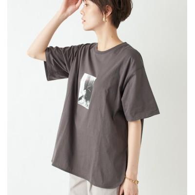 【アンディコール/un dix cors】 【WEB限定・洗える】キャット転写プリントTシャツ