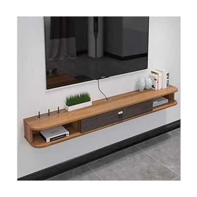 フローティングTVキャビネット壁掛けメディアコンソール棚木製ボックスステーション収納ケーブルルー