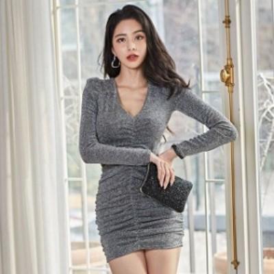 タイトワンピース Vネック ショート丈ワンピース セクシー ミニワンピース 長袖 キャバドレス 韓国風 20代 30代 ナイトドレス