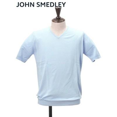 ジョンスメドレー JOHN SMEDLEY コットンニット メンズ 半袖 BRAEDON ブレイドン ライトブルー Vネック 30ゲージ でらでら 公式ブランド
