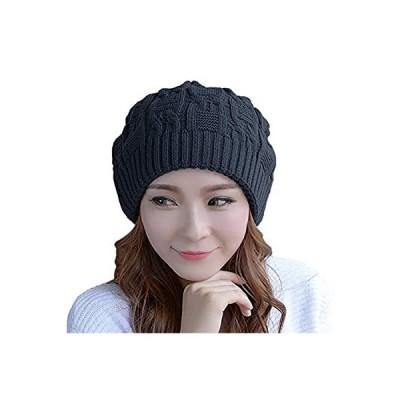 Nogees ニット帽 レディース 暖かい厚手のレディースニットキャップ (チャコールグレー)