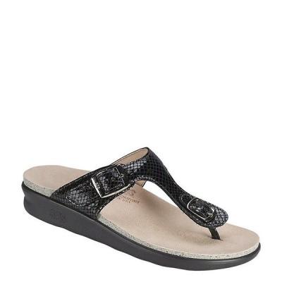 エスエーエス レディース サンダル シューズ Sanibel Snake Print Leather Thong Wedge Sandals Black Snake