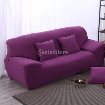 スパンデックスストレッチ2人掛けソファソファ掛け布団シートカバースリップカバーケース紫