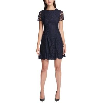ケンジー レディース ワンピース トップス Floral Crochet Lace Sheath Dress NVY/BLK