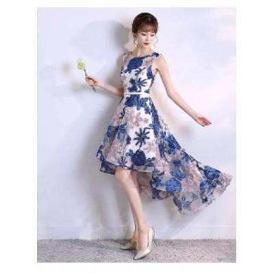 パーティードレス 春夏 結婚式 大きいサイズ 30代 ミニ丈 ノースリーブ ラウンドネック 花柄 刺繍 Xライン フィッシュテール