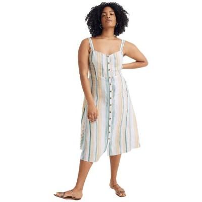 メイドウェル レディース ワンピース トップス Linen Fitted-Bodice Midi Dress in Stripe