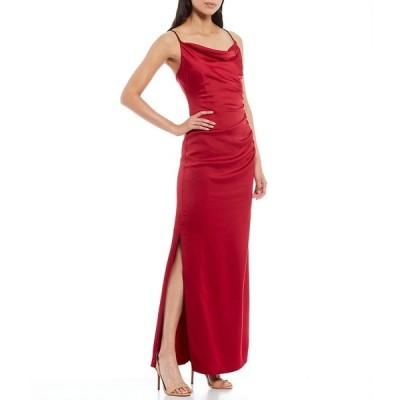 ランドリーバイシェリーシーガル レディース ワンピース トップス Stretch Satin Square Drape Neck Ruched Bodice Side Slit Slip Gown Ruby
