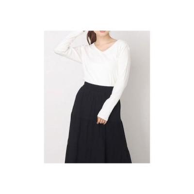 アットワン atONE すっきりVネックロングTシャツ (WHITE)