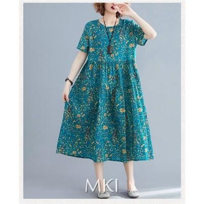 ワンピース ファッション レディース 花柄 半袖 ハイウエスト ロング丈 ゆったり 着痩せ 夏 可愛い 20代 30代 40代 新作 2020新作