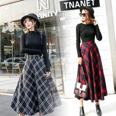 スカートレディースマキシ丈スカートチェック柄スカートラシャマキシスカート秋冬大きサイズ3カラー