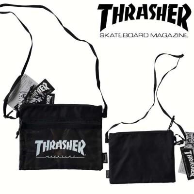 スラッシャー THRASHER メンズ レディース 兼用 サコッシュ LOGO ブラック ホワイト ポーチ 鞄 ショルダー バッグ スケーター ストリート アメカジ 正規