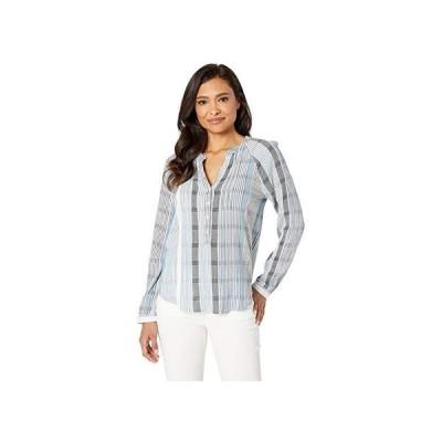 ラッキーブランド Lucky Brand Stripe Gauze Shirt レディース Shirts & Tops Blue Multi
