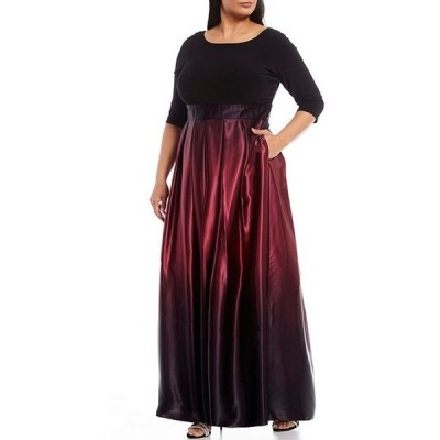 イグナイト レディース ワンピース トップス Plus Size 3/4 Sleeve Ribbon Belted Detail Ombre Satin Ball Gown