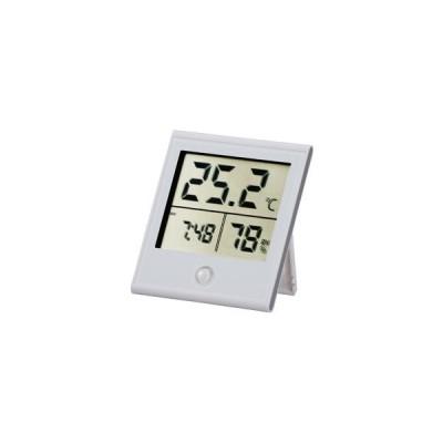オーム電機 時計付き デジタル温湿度計 白 TEM-210-W