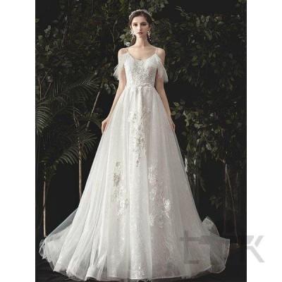 ウェディングドレス ウェディングドレス白 パーティードレス トレーンライン 花嫁ロングドレス 結婚式  露背 ホルターネック 二次会 レース お呼ばれ 挙式