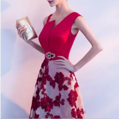 単肩Vネック ドレス/司会ドレス/ファスナータイプ/レッド Aラインウエディングドレス/ロング丈&刺繍/XS~XXXLサイズ