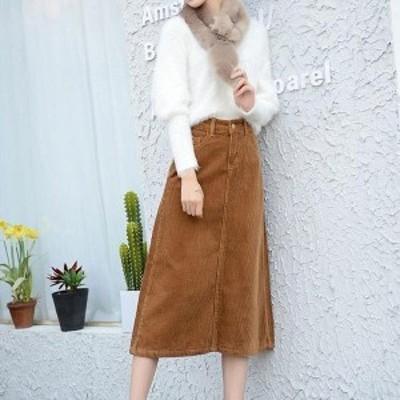 秋冬スカート フレアスカート コーデュロイスカート Aラインスカート ロングスカート ナチュラル風スカート 大きいサイズ ゆった