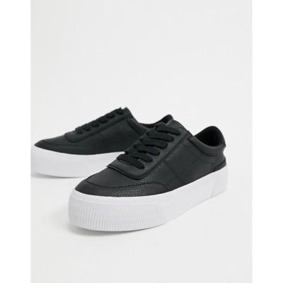 エイソス レディース スニーカー シューズ ASOS DESIGN Dynamic leather chunky sneakers in black