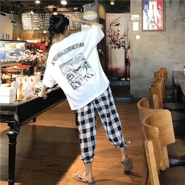 套裝 印花短袖T恤女夏新款韓版寬松大碼格子休閑褲時尚兩件套裝女0240 4F120-B韓依紡