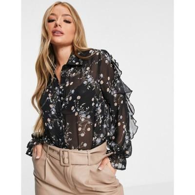 アックスパリ レディース シャツ トップス AX Paris ruffle sleeve blouse in print