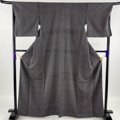 小紋 美品 秀品 幾何学 墨色 袷 身丈164.5cm 裄丈67.5cm L 正絹 中古